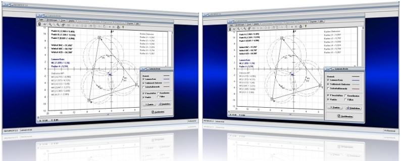 MathProf - Lamoen - Kreis - Dreieck - Mittelpunkte - Seiten - Punkte - Eckpunkte - Seitenhalbierende - Umkreise - Teildreiecke - Konstruktion - Konstruieren - Innenwinkel - Simulation - Simulieren - Rechner - Grafik - Darstellung - Plotten - Definition - Graph - Berechnen - Berechnung - Darstellen