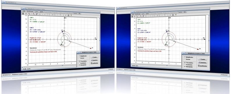 MathProf - Komplexe Zahlen - Division - Multiplikation - Zeigerdiagramm - Zeiger - Multiplizieren - Dividieren - Imaginäre Zahlen - Komplexer Quotient - Komplexes Produkt   - Komplexe Zeiger - Koordinaten - Plotten - Graph - Grafisch - Bilder - Bildlich - Darstellung - Rechner - Plotter - Berechnung - Darstellen