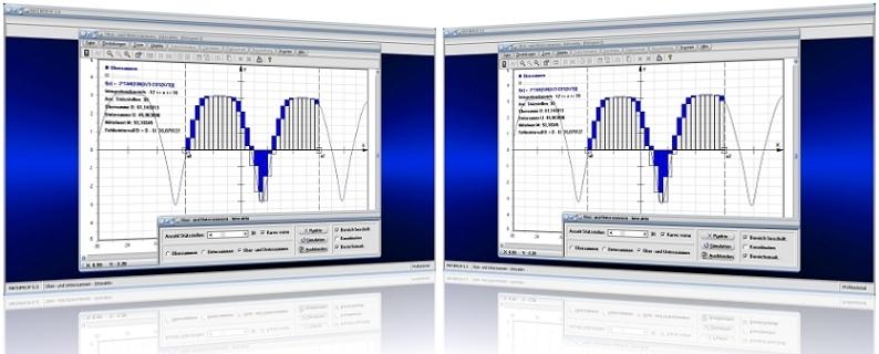 MathProf - Integralrechnung - Obersumme - Untersumme - Summenbildung - Streifenmethode - Integral - Riemannsche Summe - Riemann-Summe - Streifenmethode - Rechner - Berechnen - Plotten - Graph