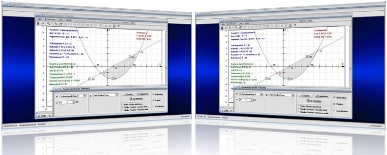 MathProf - Parabel - Gerade - Parabel - Parabelgleichung - Gerade - Fläche - Berechnen - Darstellen - Rechner - Beispiel - Plotter - Grafik - Plotten - Zeichnen - Graph - Schnittpunkt - Berührpunkt - Punkte - Parameter - Fläche - Parabelsegment - Punkte - Diskriminante - Analyse - Lagebeziehung