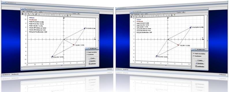 MathProf - Vektor - Resultierende - Vektoren - Kraft - Betrag - Länge - Vektorlänge - Parallelogramm - Parallelogrammregel - Vektorzerlegung - Vektorbetrag - Zeichnen - Graph - Grafisch - Bilder - Darstellung - Richtung - Berechnen - Darstellen - Rechner - Plotten
