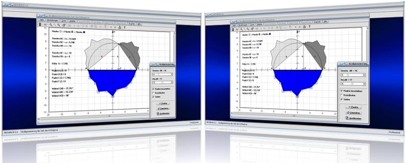 MathProf - Pythagoras - Beweis - Polygone - Verallgemeinert - Dreiecke - Summe - Flächen - Flächeninhalt - Strecke - Höhe - Winkel - Innenwinkel - Fläche - Länge - Darstellen - Plotten - Graph - Rechner - Berechnen - Grafik - Zeichnen - Plotter
