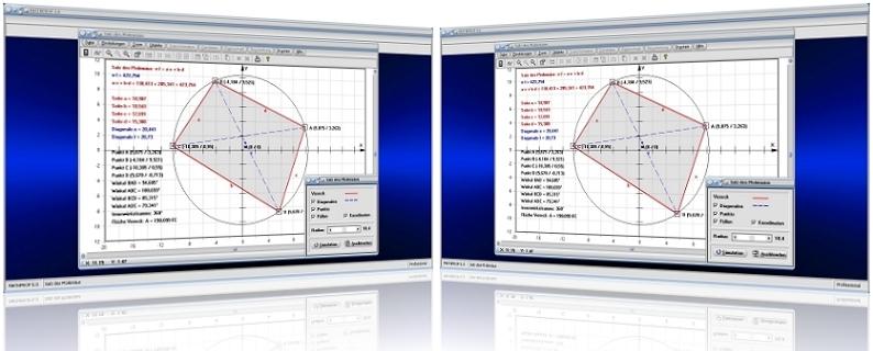 MathProf - Ptolemäus-Satz - Sehnenviereck - Tangentenvieleck - Eigenschaften - Flächeninhalt - Innenwinkel - Graph - Grafisch - Bilder - Darstellung - Berechnung -   Darstellen - Diagonalen - Fläche - Winkel - Mittelpunkt - Umkreis - Gegenüberliegende Winkel - Viereck - Rechner - Kreis
