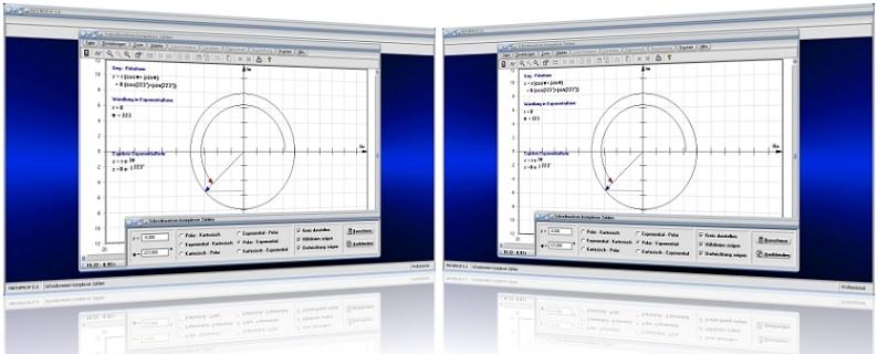 MathProf - Komplexe Zahl - Polarform - Exponentialform - Winkel - Imaginäre Zahlen - Umrechnen - Polardarstellung - Imaginärteil - Argument - Exponentialschreibweise - Trigonometrische Darstellung  - Trigonometrische Form - Polarkoordinaten - Umwandlung - Eigenschaften - Darstellung - Plot - Graphik - Graph - Kreis - Berechnen - Rechner - Umrechnung - Berechnung