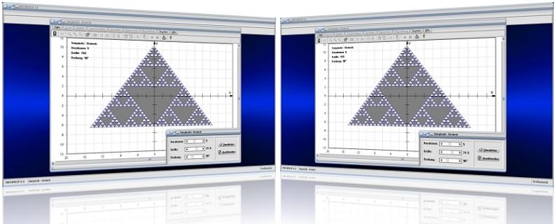 MathProf - Sierpinski - Sierpinski triangle - Flächeninhalt - Grafik - Fraktale Geometrie - Fläche - Graph - Animation - Formeln - Dreieck - Problem
