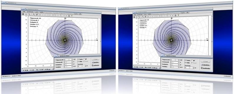 MathProf - Spiralen im Vieleck - Käferproblem - Käferbahn - Spiralen - Verfolgung - Verfolgungsproblem - Problem - Bild - Darstellen - Plotten - Graph - Rechner - Berechnen - Grafik - Zeichnen - Plotter