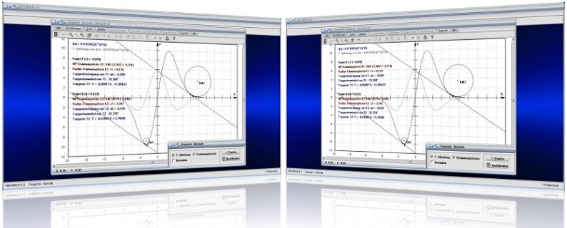 MathProf - Tangente - Normale - Tangente und Normale - Tangentenverfahren - Tangentengleichung - Normalengleichung - Anstieg - Funktion - Plotter -   Gleichung - Grafisch - Bild - Grafik - Graph - Zeichnen - Rechner - Berechnen - Funktion - Anstiegswinkel - Bestimmen - Krümmung - Krümmungsradius
