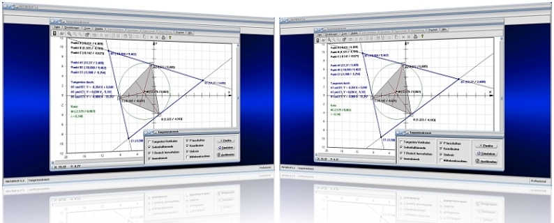 MathProf - Tangentendreieck - Konstruktion - Konstruieren - Dreieck - Tangenten - Kreis - Berechnen - Graph - Grafisch - Bild - Rechner - Grafik - Erklärung - Beschreibung - Definition - Darstellung - Berechnung - Zeichnen - Eigenschaften - Darstellen