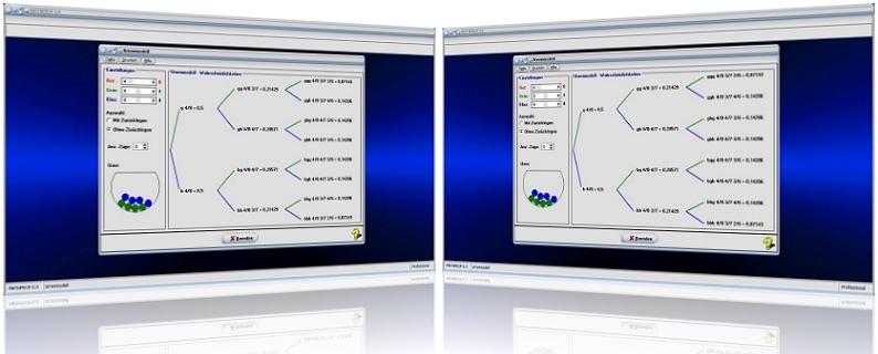 MathProf - Urnenmodell - Rechner - Urnenmodelle - Urne - Modell - Multiplikationsregel - Mit Zurücklegen - Ohne Zurücklegen - Tabelle - Berechnung - Darstellen - Formeln - Rechner - Berechnen - Graph - Plotter - Auswertung - Möglichkeitent - Ziehungen - Wahrscheinlichkeit