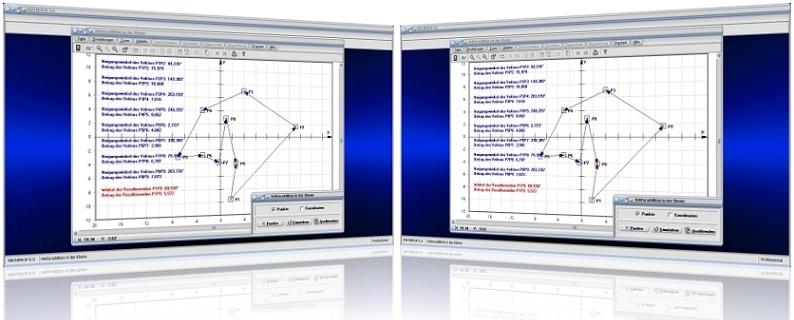 MathProf - Vektorrechnung -  Vektoren - Addieren - Addition - Ebene - Ortsvektor - Verschiebungsvektor - Verbindungsvektor - Addieren - Subtrahieren - Betrag - Neigungswinkel - Berechnen - Darstellen - Rechnerisch - Grafik - Vektor - Graph - Vektorlänge - Plotter - Rechner - Plotten - Resultierende - Vektorsumme - Zeichnen