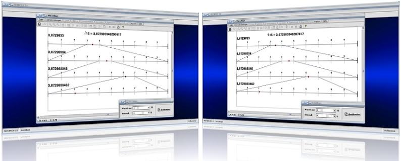 MathProf - Wurzel - Intervall - Intervallschachtelung - Wurzelrechnung - Radizieren - Radikand - Wurzel berechnen - Wurzelrechner - Wurzelberechnung - Wurzeldarstellung - Wurzel darstellen - Zweite Wurzel - Wurzelwert - Wurzelgesetze - Rechengesetze - Regeln - Rechenregeln - Wurzeln - Graph - Rechner - Darstellen - Grafisch - Grafik