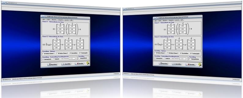 MathProf - Ebenen - Darstellen - Zwei Ebenen - Ebenen im Raum - Zeichnen - Lage - Lagebeziehung - Ebenengleichungen - Schnitt - Schnittgerade - 3D - Schnittwinkel - Gleichung - Spurpunkte - Schneiden - Spiegeln - Berechnen - Vektoren - Winkel - Darstellung - Berechnung - Rechner - Darstellen - Plotter - Formeln - Umwandlung - Umwandeln - Umrechnung - Umrechnen - Umformen