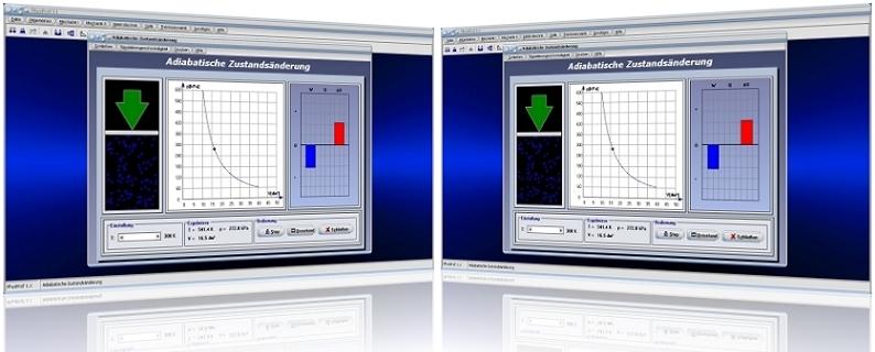 PhysProf - Adiabatische Zustandsänderung - Adiabatischer Prozess - Adiabatischer Vorgang - Adiabatische Expansion - Adiabatische Kompression - Zustandsänderungen - Adiabatengleichung - Adiabatenexponent - Thermische Zustandsgleichung -  Volumen - Druck - Temperatur - Diagramm - Adiabatische Arbeit - Expansion - Kompression - Rechner - Berechnen - Gleichung - Simulation - Darstellen - Garfisch - Grafik