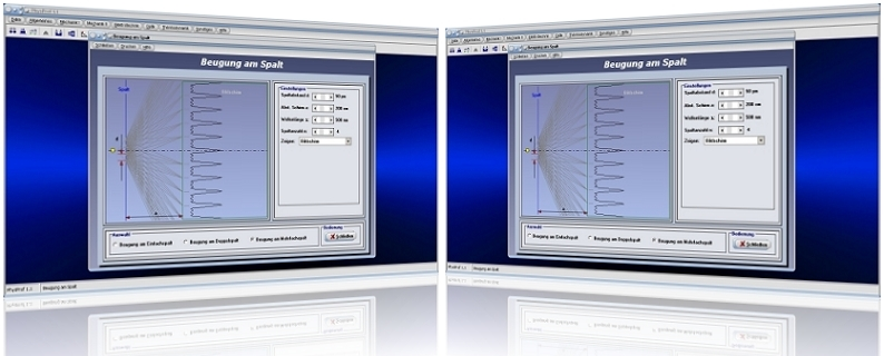 PhysProf - Einzelspalt - Doppelspalt - Beugung - Lichtspalt - Lichtstrahl - Strahl - Wellen - Vorgang -  Darstellen - Bild - Grafik - Spaltabstand - Berechnung- Spalt - Gitter - Extrema - Beugungsgitter - Intensität - Intensitätsminima - Intensitätsmaxima - Gitterkonstante - Beugungswinkel - Spaltbreite - Wellenlänge - Rechner