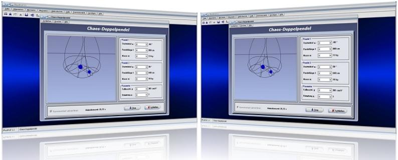 Doppelpendel - Elongation - Physik - Animation - Simulation - Schwingung - Funktion - Gedämpft - Chaotisches Doppelpendel - Chaotisches Pendel - Verhalten - Dämpfung - Berechnen - Rechner - Masse - Winkel - Pendellänge - Dämpfungskoeffizient - Darstellen - Auslenkung