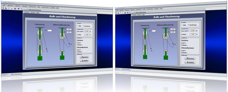 PhysProf - Flaschenzug - Differentialflaschenzug - Gewichtskraft - Kraftweg - Lastweg - Rollen - Feste Rolle - Lose Rolle - Kraft - Last - Formel - Berechnen - Gleichung - Rechner - Berechnung - Darstellung - Kräfte