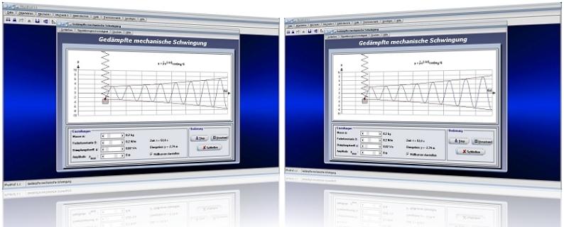 PhysProf - Federpendel - Federkonstante - Frequenz - Elongation - Diagramm - Dämpfung - Hüllkurve - Dämpfungskoeffizient - Abklingkoeffizient  - Dämpfungskonstante - Aperiodische Schwingung - Konstante - Periodendauer - Amplitudengang - Kriechfall - Auslenkung - Periode - Berechnen - Schwingungskonstante - Schwingungsperiode - Schwingungsphase - Schwingungssimulation - Berechnen - Rechner - Bild - Grafik - Grafische Darstellung