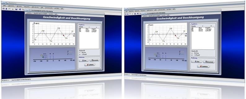 PhysProf - Mittlere Beschleunigung - Momentane Beschleunigung - Geschwindigkeit - Rechner - Berechnen - Zeit - Weg - Translation - Dauer - Graph - Diagramm - Grafik - Tabelle