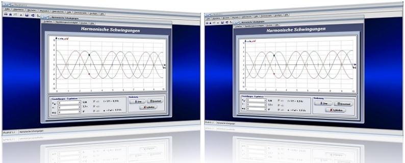 PhysProf - Schwingungen - Frequenz - Phasenwinkel - Elongation - Amplitude - Simulation - Dauer - Kreisfrequenz - Winkelfrequenz - Phase - Verschiebung - Zeit - Dauer - Simulation - Material - Bild - Grafik - Graph - Schwingungsperiode - Schwingungsamplitude - Schwingungsgleichung - Plotter - Formeln - Berechnen - Prozesse - Periodisch - Harmonische Schwingung - Phasenverschiebung - Periodendauer