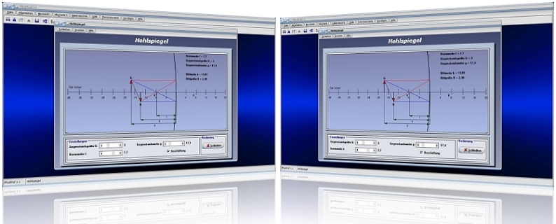 PhysProf - Hohlspiegel - Konkavspiegel - Spiegel - Gegenstandsweite - Gegenstandsgröße - Brennpunktstrahl - Parallelstrahl - Lichtbrechung - Reflexion - Bildweite - Bildgröße - Brennweite - Brennpunkt - Berechnen - Formeln - Simulation - Strahlengang - Abbildung - Aufbau - Position - Berechnung - Darstellen