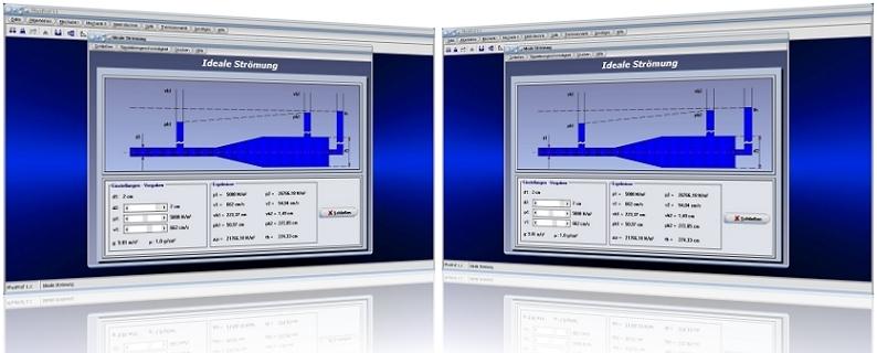 PhysProf - Strömung - Volumenstrom - Fließgeschwindigkeit - Wasser - Flüssigkeit - Rohr - Gleichung - Bild - Berechnung - Querschnitt - Volumen - Druck - Drücke - Dichte - Statischer Druck - Dynamischer Druck - Bernoulli-Gleichung - Kontinuitätsgleichung - Kontinuität - Kontinuitätsgesetz - Druckverlust - Absoluter Druck - Relativer Druck - Dynamische Auftriebskraft - Dynamischer Auftrieb - Druckunterschied - Druckdifferenz - Flüssigkeitssäule - Durchfluss - Geschwindigkeit - Rechner - Berechnen