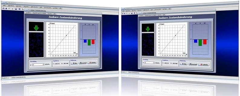 PhysProf - Isobare Zustandsänderung - Volumen - Druck - Prozess - Temperatur - Innere Energie - Isobar - Wärme - Energie - Gasmasse - Wärmeenergie - Kompression - Expansion - Arbeit - Diagramm - VT-Diagramm - Wärmekapazität - Formeln - Grafik - Gleichung - Berechnung - Volumenänderung - Darstellen - Änderung - Animation - Rechner - Berechnen