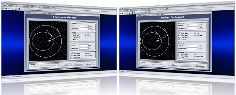 PhysProf - Keplersche Gesetze - 1. Keplersches Gesetz - 2. Keplersches Gesetz - 3. Keplersches Gesetz - Kepler - Gesetz -  Bahn - Bahnen - Planetenbahn - Kraft - Gravitation - Anziehung - Kräfte - Grafik - Simulation - Berechnung - Darstellen - Rechner