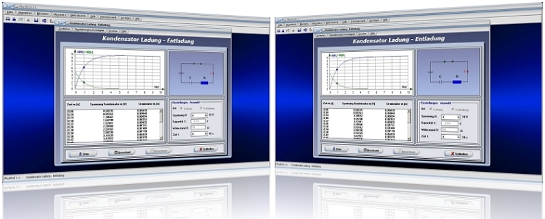 PhysProf - Kondensatoren - Ladung - Entladung - Laden - Entladen -  Elektrische Ladung - Spannung - Strom - Stromstärke - Kapazität - Widerstand - Ladezeit - Entladezeit - Ladedauer - Spannungsverlauf - Stromverlauf - Ladekurve - Entladekurve - Diagramm - Formeln - Berechnen - Kennlinie - Rechner - Berechnung - Darstellen