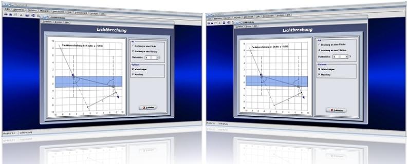 PhysProf - Lichtbrechung - Licht - Brechung - Brechungsgesetz - Lichtstrahl - Brechwert - Brechzahl - Brechungswinkel - Brechungszahl - Brechungsindex - Optische Dichte - Lichtausbreitung - Lichtweg - Totalreflexion - Berechnen - Physik - Physikalisch - Beispiel - Formel - Grafik