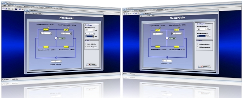 PhysProf - Wheatstonesche Brücke - Messbrücke - Brückenschaltung - Widerstand - Abgleich - Unbelastet - Belastet - Messschaltung - Messwiderstand - Strom - Spannung - Widerstand - Simulation - Berechnen - Schaltung - Schaltplan - Rechner - Formel - Berechnung