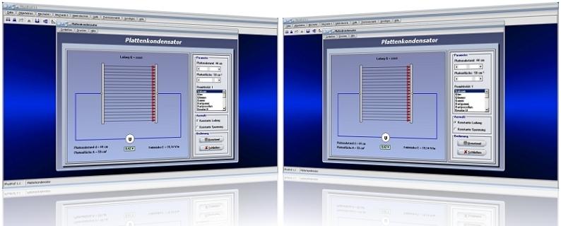 PhysProf - Plattenkondensator - Feldstärke - Ladung Q - Elektrische Ladung - Spannung - Platten - Kondensatoren - Konstante Spannung - Konstante Ladung - Elektrisches Feld - Elektrische Feldstärke - Elektrische Feldkonstante - Grafik - Darstellen - Formeln - Einheiten - Berechnen - Rechner - Dielektrizitätskonstante - Leiter