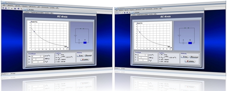 PhysProf - RC-Schaltung - RC Reihenschaltung - RC-Glied - Kondensator - Kapazität - Spannung - Strom - Widerstand - Ladung - Berechnen - Grafik - Rechner - Simulation - Kennlinie - Berechnung - Zeitkonstante - Zeit - Dauer