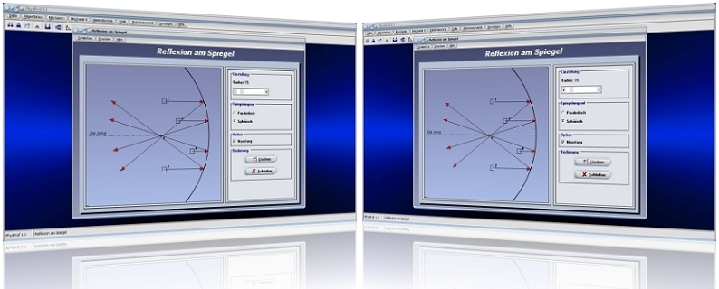 PhysProf - Reflexion - Spiegelreflexion - Sphärische Linse - Wölbspiegel - Licht - Darstellen - Linsenkrümmung - Brennpunkt - Sphärische Reflexion - Parabolische Reflexion