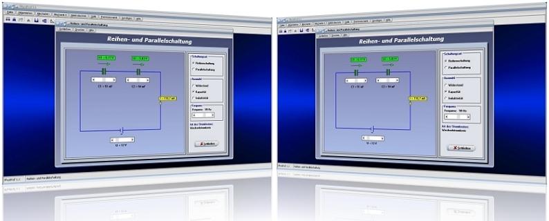 PhysProf - Reihenschaltung - Parallelschaltung - Schaltung - Parallel - Reihe - Widerstände - Spannungsquelle - Formel - Stromkreis - Teilströme - Strom -  Berechnen - Teilspannungen - Gesamtwiderstand - Gesamtinduktivität - Gesamtkapazität - Gesamtspannung - Gesamtstrom - Stromstärke - Sapnnung - Kondensatoren - Spulen - Kapazität - Induktivität - Ohm - Ampere - Volt - Rechner