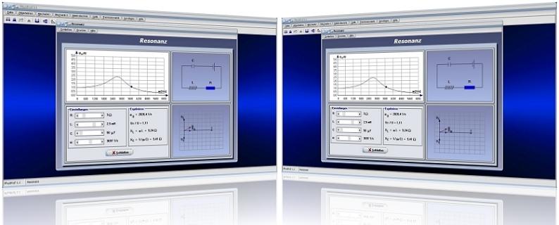 PhysProf - Resonanz - Kreisfrequenz - Induktivität - Kapazität - Frequenz - Dämpfung - Diagramm - Kondensator - Spule - Rechner - Berechnen - Berechnung - Darstellen