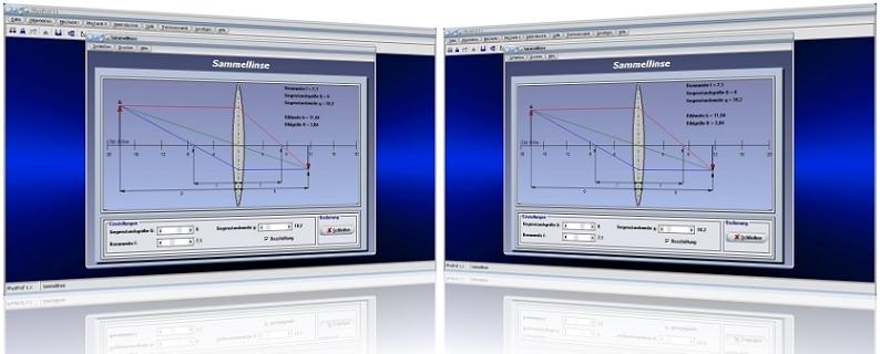 PhysProf - Sammellinse - Gegenstandsweite - Berechnen - Optische Vergrößerung - Optische Verkleinerung - Gleichung - Gesetzmäßigkeiten - Strahlengang - Rechner - Linsenmittelpunkt - Formel - Zeichnen - Funktion - Animation - Parallelstrahl - Mittelpunktstrahl - Brennpunktstrahl - Brennstrahl