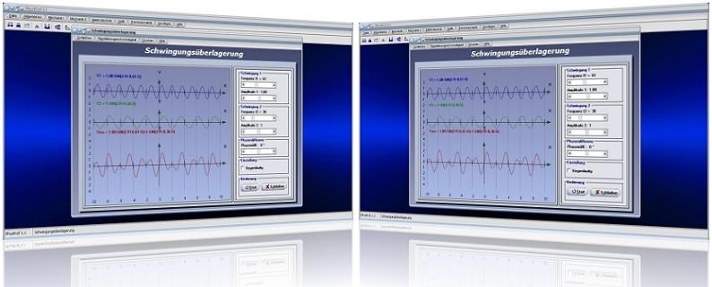 PhysProf - Schwingungen - Überlagerung - Schwingungsfrequenz - Schwingungsamplitude - Frequenz - Amplitude - Schwingung - Überlagerung - Superposition - Parameter - Periodendauer - Berechnen - Simulation - Diagramm - Rechner - Darstellen
