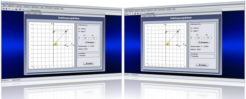 PhysProf - Projektion von Vektoren - Physikalischer Vektor - Vektorprojektion - Resultierende - Kraft - Kräfte - Resultierende Kraft - Kräftezerlegung - Kraft - Resultierende - Richtung - Winkel - Pfeil - Pfeile