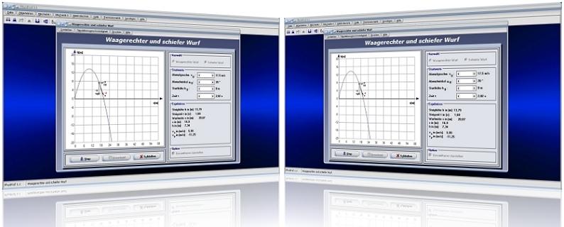 PhysProf -Schräger Wurf - Schiefer Wurf - Wurfparabel - Wurfbahn - Wurfweite - Wurfzeit - Wurfbewegungen - Geschwindigkeit - Bahnkurve - Flugbahn - Diagramm - Höhe - Wurfhöhe - Parabel - Simulation - Zeit - Animation - Dauer - Anfangshöhe - Rechner - Grafik - Grafisch - Formeln - Gleichung - Steighöhe - Steigzeit - Fallzeit