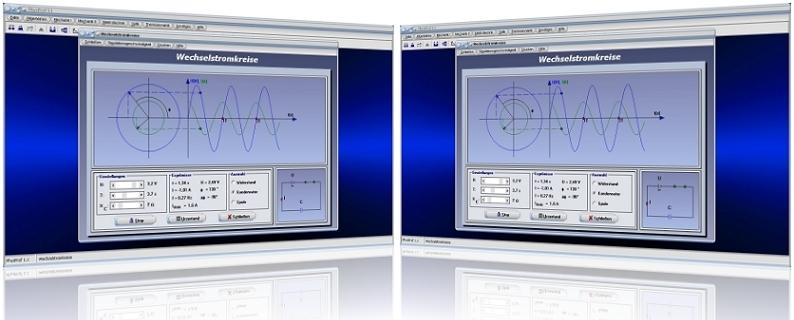 PhysProf - Wechselstromkreise - Stromkreis - Kondensator - Spule - Wechselstrom - Spannung - Wechselspannung - Phase - Phasenverschiebung - Phasendifferenz - Stromstärke - Spannung - Frequenz - Widerstände - Phasenwinkel - Nullphasenwinkel - Nulldurchgang - Amplitude - Wechselstromwiderstand - Digramm - Berechnen - Rechner