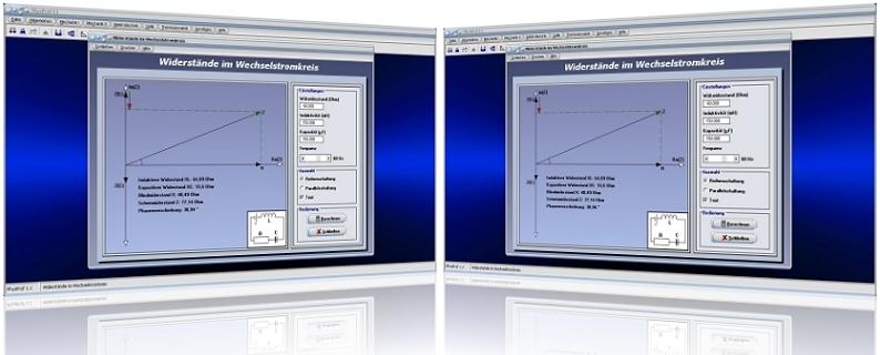 PhysProf - Reihe - Parallel - Induktivität - Kapazität - Frequenz - Stromstärke - Spannung - Wechselstrom - Wechselspannung - Widerstand - Ohmscher Widerstand - Wirkwiderstand - Induktiver Widerstand - Kapazitiver Widerstand - Blindwiderstand - Scheinwiderstand - Rechner - Berechnen - Grafik - Formeln - Einheit - Blindleitwert - Scheinleitwert