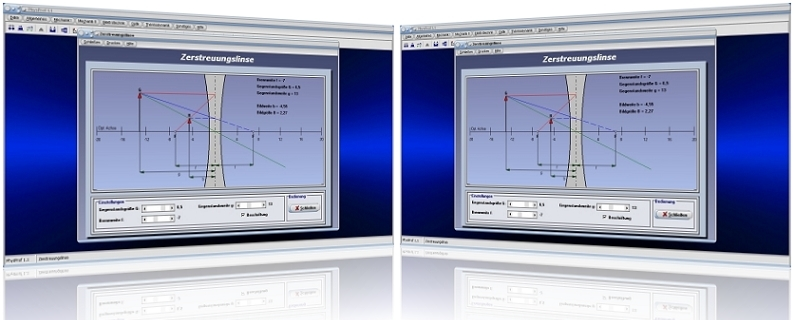 PhysProf - Zerstreuungslinsen - Streulinsen - Berechnen - Konkave Linse - Konkavlinse - Gegenstandsweite - Bildweite - Abbildungsmaßstab - Bildhöhe - Strahlenverlauf - Vergrößerung - Verkleinerung - Strahlengang - Aufbau - Abbilden - Optik - Rechner - Beispiele - Zeichnen - Formel - Bild - Grafik - Berechnung - Darstellen