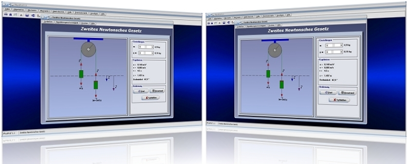 PhysProf - 2. Newtonsches Gesetz - Newtonsche Axiome - Newtonsche Gesetze - 2. Newtonsches Axiom - Trägheitsprinzip - Kraftwirkungsprinzip - Wechselwirkungsprinzip - Aktionsprinzip - Formeln - Gravitation - Kraft - Körper - Gravitationsgesetz - Gravitationskraft - Aktionskraft - Reaktionskraft - Rechner - Berechnen - Grafik - Simulation - Berechnung