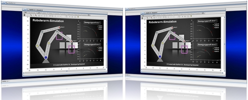 SimPlot - Grafiken - Erstellen - Erstellung - Computer - Plot - Darstellung - Bild - Roboter - Bewegung - Computeranimation - Zeitsteuerung - Zeitgesteuerter Ablauf - Steps - Simulation - Animation - Zeitabhängige Steuerung - Zeitabhängige Bewegung