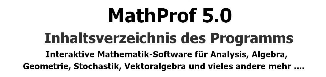 MathProf - Mathematik interaktiv - Programmübersicht - Inhaltsverzeichnis