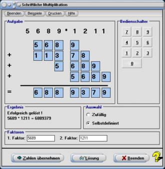 MathProf - Schriftliche Multiplikation - Schriftliches Multiplizieren - Ganze Zahlen - Multiplizieren ganzer  Zahlen