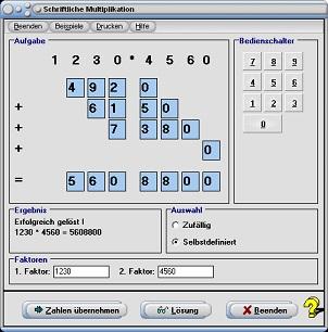 MathProf - Schriftliche Multiplikation - Schriftliches Multiplizieren - Lernen - Rechner - Division - Dividieren - Multiplizieren - Beispiel